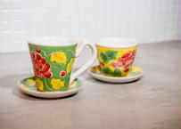 バッチャン焼き_カップ&ソーサーセット※緑のほうです 鮮やかすぎるアジアンテイストな逸品をどうぞ!