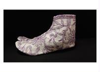 チカン刺繍足袋 白×紫 総刺繍