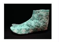 チカン刺繍足袋 ターコイズグリーン 刺繍スリット