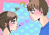キスしてくれない彼氏とキスしてほしそうな彼女のイラスト素材