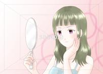 手鏡を見る女性のイラスト素材