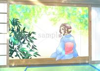 縁側に座っている着物姿の女性のイラスト素材