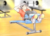 アクティブな男性の特徴とは:トレーニングしている男性のイラスト素材