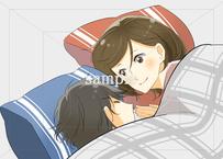 女性からキスするタイミング:寝る前・寝起きでキスする女性のイラスト素材