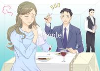 女性に「あーん」で食べさせる男性:高級レストランの中でも食べさせる男性のイラスト素材