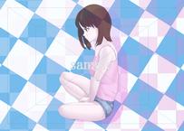 座り込んで泣いている女性のイラスト素材