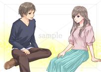 座って会話しているイケメン男性と美人女性のイラスト素材