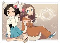 猫系女子:猫っぽい女性と猫の格好をする女性のイラスト素材