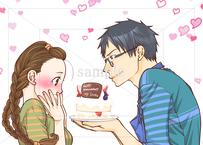 旦那が大好き:旦那からの誕生日ケーキのイラスト素材