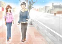 本命の女性にする行動:車道側を歩く男性のイラスト素材