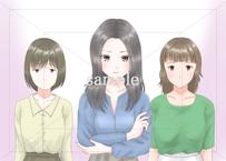 男好きな女友達:友達を引き立て役としか思っていない女性のイラスト素材