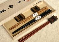 桐箱2膳入/選べる小判箸&2way箸置きセット【輪島拭き漆箸】