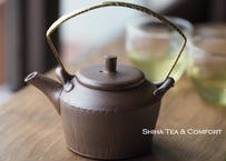 甚秋縞紋金属把小壺急須 Jinshu  Metal Top Handle small  Teapot Kyusu