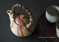 備前急須 Bizen  Reddish lines, TOP Vine handle Dobin   Teapot Kyusu