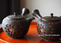 舜園  镂空 梅花壺 SHUNEN Double Wall Teapot