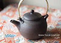 急須 Jinshu Shell Gold Metal handle small  Teapot KYUSU