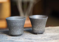 SUZU-YAKI Japanese Black Pottery Pair Cups 珠洲焼