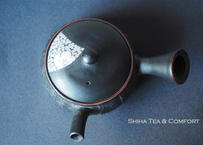 [Special Discount]  Motozo 素三急須 Small Black Sakura Ceramic Kyusu Teapot