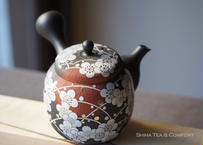宗則急須 White Plum Ume flolwer, red clay smoked black, full carving Japanese Ceramic Kyusu Teapot