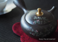 昭龍油滴花茶壺金盖钮急須 Shoryu,Flower on Tenmoku Oil Drops Teapot,gold lid knob KYUSU