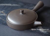 [$164] 甚秋扁平壶 JINSHU Flat Kyusu Gokuhira Black Seaweed Teapot