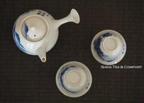 Vintage Japanese Blue & White Porcelain Teapot Teaware set Cups