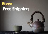 備前珠型提梁壺急須 Bizen Teapot, TOP handle lines KYUSU