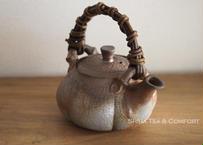 Bizen 備前 Pumpkin Shpae  Teapot, Japanese Kyusu , No Glazing,  Plant Woven handle.