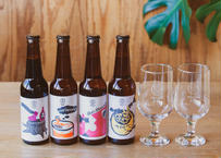 KAMIYAMA BEER special selection & 2x Original Glass(330mlボトル×4本+オリジナルグラスx2個セット)