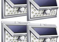 ソーラーライト 24LED 人感センサ 広角照明 センサーライト 玄関入口 屋外 軒先 ガーデン 駐車場などに適用 シルバー(4本セット)