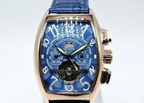 CASENO 自動巻き 機械式腕時計 クロノグラフ メンズ 革バンド ブロンズ トゥールビヨン