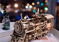 Robotime DIY 時計じかけ ギア ドライブ 木製 機関車 3D モデル 作成キット