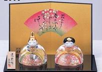 ★ひな祭りを飾る★ 縁起の良い雛人形【彩絵 玻璃座雛(桜飾り)】