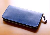 《牛革・型押し》◇ラウンドファスナー長財布◇《ブルー/ブラック》
