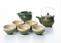 織部釉の茶器セット【抱星窯】