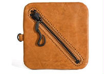 Square Leather Coin Pouch キャメル