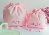 手刺繍 通園おべんとう袋とコップ袋セット② ピンク