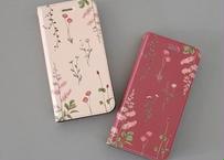 ピンクの花たちの手帳型iPhoneケース