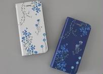 ブルーの花たちの手帳型iPhoneケース
