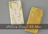 黄色い花たちの手帳型iPhoneケース〔大型モデル専用〕