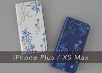 ブルーの花たちの手帳型iPhoneケース〔大型モデル専用〕