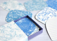 ブルー系*ボタニカル柄メッセージカードBOX