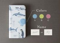 海の生き物の手帳型スマホケース*カスタマイズ可