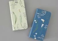 白い花たちの手帳型iPhoneケース