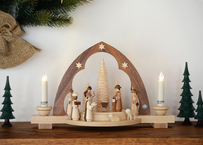 ※取り寄せ品※ 尖塔アーチ型キャンドルスタンド「キリスト生誕」 ( 電池式キャンドル付き )
