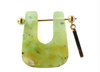 Green Oparl Rock Pierced Earring