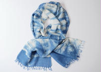 エシカルヘンプ手織りストール 正藍籠染め縞 藍色a