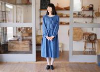 エシカルヘンプギャザードレス 正藍染め藍色