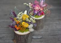 【発送商品】Mini wood vase arrangement(丸太のアレンジメント)