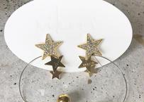 PLANET- crystal _  gold   pierce / earring